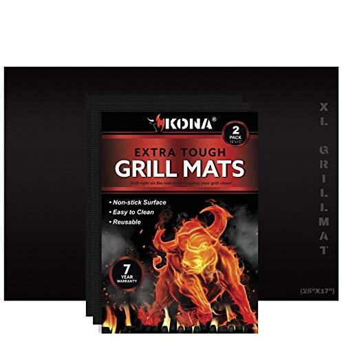 "Kona Best BBQ Grill Mats - Heavy Duty Non-Stick Mats Bundle - (2) 16""x13"" Size and (1) XL 25""x17"" Size Grill mats"
