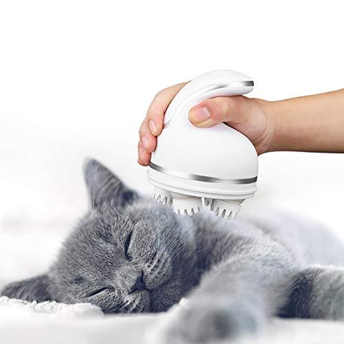 Fdit Massaggiatore Elettrico per Animali Domestici Gatti Cani Massaggio alla Testa 3D Massaggiatore per Testa di Gatto Massaggiatore Elettrico per Animali Domestici con Ricarica USB(Bianca)
