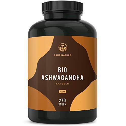 TRUE NATURE® Bio Ashwagandha - 270 Kapseln mit je 650mg - Hochdosiert mit 2600mg pro Tagesdosis - Premium indische Bio Schlafbeere - Vegan, Laborgeprüft, Deutsche Produktion