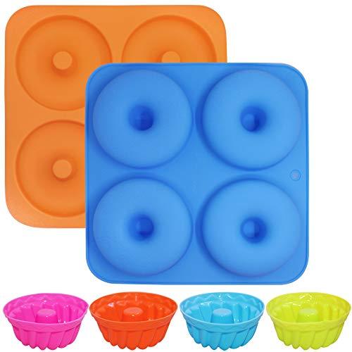 FineGood - Paquete de 2 moldes para hornear rosquillas, molde de silicona para hornear donas, moldes para moldes para muffins