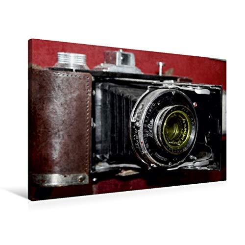 Calvendo Premium Textil-Leinwand 90 cm x 60 cm quer, Alte Rollfilm-Kamera | Wandbild, Bild auf Keilrahmen, Fertigbild auf echter Leinwand, Leinwanddruck: historischen Fotoapparats Hobbys Hobbys