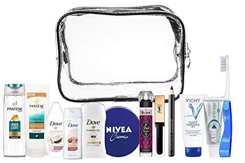 A2S Women13pcs Convenience Reiseutensilien-Kit, Reiseset für Handgepäck, Urlaubs- und Geschäftsreisen, bestehend aus Allen erforderlichen Körperpflege, in einem PVC-Kosmetikkoffer.