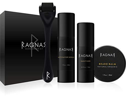 RAGNAR - Bart Set | Bartwuchsmittel für Männer | Bartwuchs fördern | Bartlücken schließen | Bartwachstumsserum | Bartroller + Gratis Bartbalsam/Bartwachs