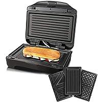 Taurus Miami Premium Sandwichera intercambiable, 900 W, 0 Decibeles, Acero Inoxidable, Blanco