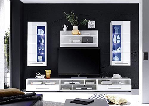 Wohnwand mit LED Beleuchtung in Weiß kaufen  Bild 1*