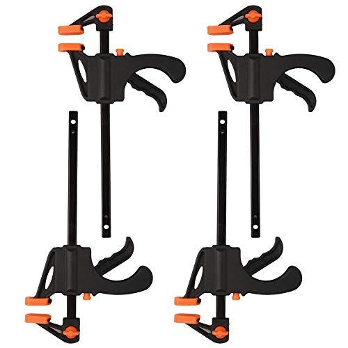Alicates de agarre rápido de 4 pulgadas alicates de trinquete alicates de una mano, 4 piezas de abrazadera de madera tipo F herramienta de fijación de abrazadera de barra de abrazadera