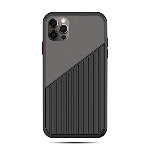 Rdyi6ba8 Case for iPhone 12 Pro Max, Hybrid Translucent Matte Hard PC and Suitcase Style Striped Soft TPU Silicone Shockproof Non Slip Phone Case for iPhone 12 Pro Max (Black)