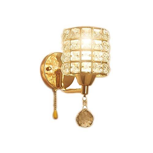 Kanqingqing Wandlampe aus Kristall, Nachttisch, modernes Design, einfach, einzelner Kopf, Aluminium, Kristall, Lampenschirm für Wohnzimmer, Schlafzimmer, Flur Free size oro