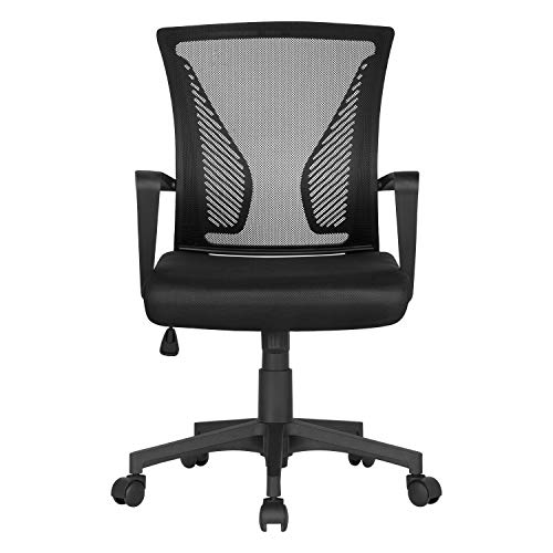 Yaheetech Desk Chair Fabric Mesh Chair Adjustable Executive Computer Office Chair Ergonomic and Swivel with Comfortable Lumbar Support Black