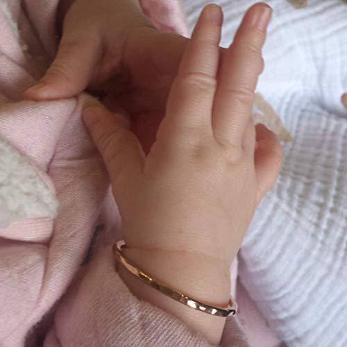 Baby Girl First Bracelet   Newborn Bangles   Handmade 14K Gold Filled for Infant Girl   Golden Jewelry Keepsake for Baptism   Blessing   Dedication Gift