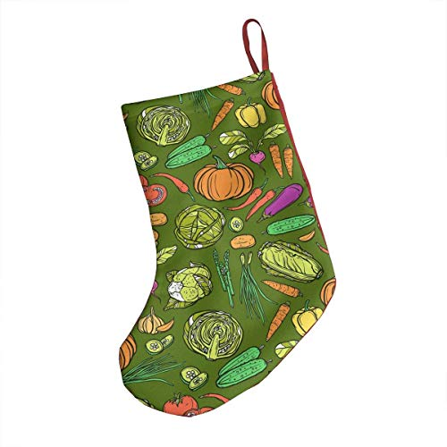 Chili Pepper Red Vegetables Cute Carrot 18' in Xmas Stockings Socks Gift & Treat Bag Christmas Tree Ornament for Favors and Decorating Fireplace