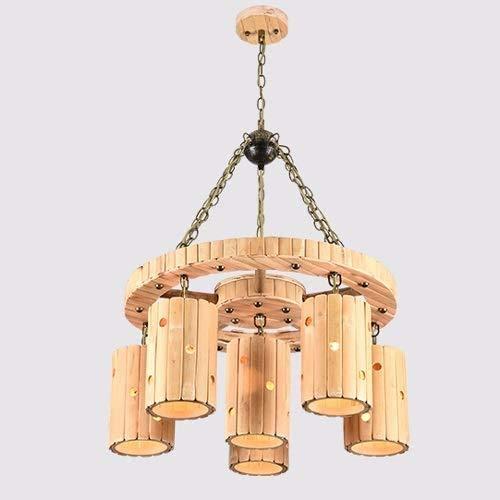 Aplique de pared de estilo contemporáneo chino retro de la lámpara E27 * 6 Industrial Nostálgico Pastoral de la personalidad de techo lámpara colgante creativo de bambú American Art Bar Restaurante Li