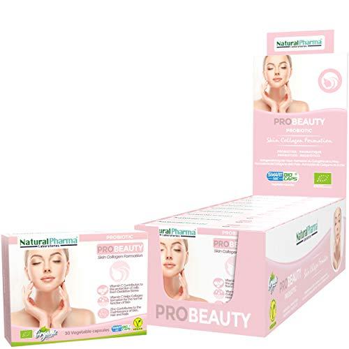 NaturalPharma ProBeauty Probiotic Pack x10. Care for The Skin. Vitamin C + Vitamin B6 + Zinc. Smart BioCaps Capsules. Organic Certification (Gluten & Lactose Free, Vegan).