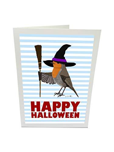 Happy Halloween Grußkarte Rosi Rotkehlchen mit Hexenbesen und Hexenhut Vogel Illustration
