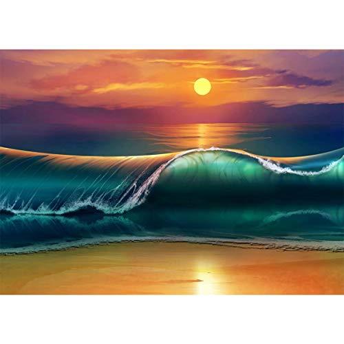 Kit fai da te 5D per pittura mosaico quadrato con numero per adulti tramonto spiaggia gioiello arte ricamo strass ricamo punto croce fornitura immagini arte artigianato tela decorazione parete 30x40cm