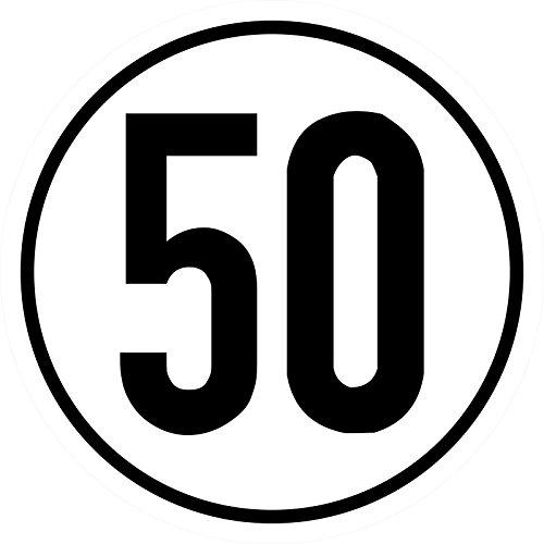 Geschwindigkeitsschild 50 km/h, 20cm nach §58 StVZO, Folienaufkleber zur Anbringung Karosserie aussen, Aufkleber, Geschwindigkeit, rund, für Traktor, LKW, Rollstuhl,