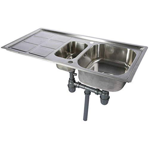 GOTOTOP Lavello in Acciaio Inossidabile da Cucina con Vasca 101X 51x 23 cm Lavandino Reversibile Vasca Doppia 2 scarichi Sono Completamente collegati