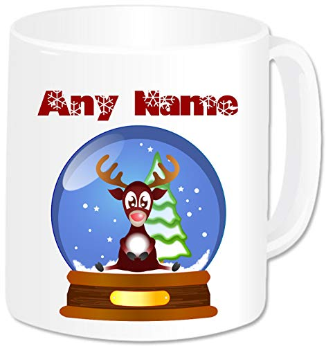 Personalised Christmas Gifts - Snow Globe Rudolph Reindeer Mug Coffee Tea Cup with Name - Novelty Present Idea for Kids Women Men