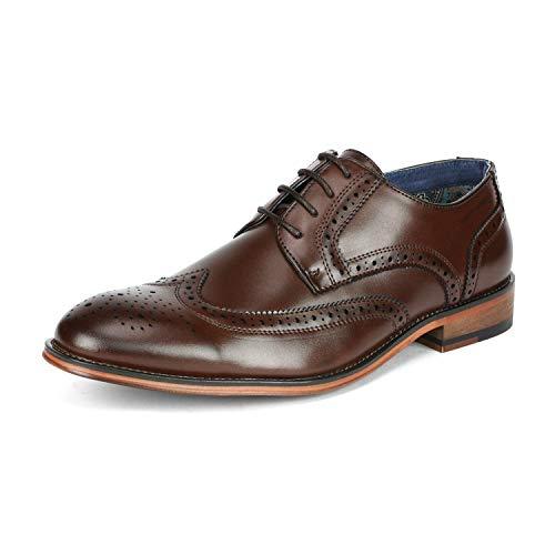 Bruno Marc Louis_1 Zapatos de Cordones Vestir Derby Oxford para Hombre Marrón 41.5 EU/8.5 US