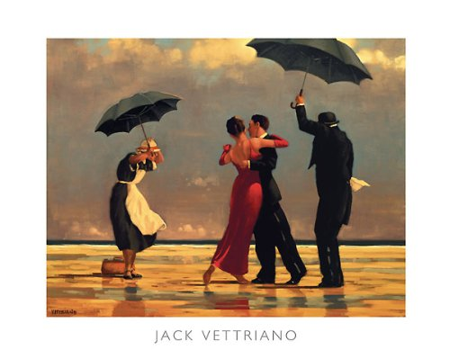 The Singing Butler Jack Vettriano Umbrella Love Dancing Beach Rain, Overall Size: 19.75x15.75, Image Size: 18.5x13.5