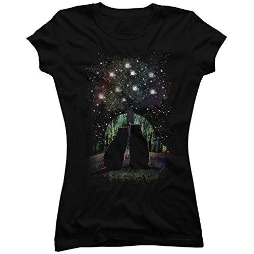 Xinhe Cat Romance Juniors' Blackgraphic T Shirt (Size:L