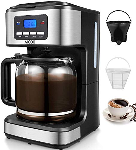 Discover Bargain Aicok Coffee Maker, 12-Cup Programmable Drip Coffee Brewer with glass carafe, Stain...