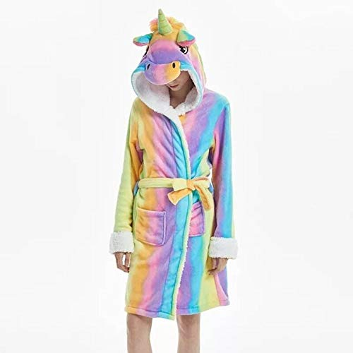 DZWBYS Adult Flannel Bath Robe Bata de baño de Franela para Mujer Albornoz Camisón Invierno, Unicornio Arcoiris, M