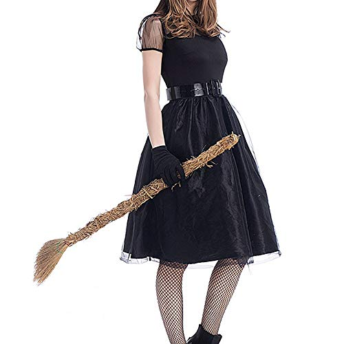 Aiserkly 4PC Damen Halloween Kostüm Karneval Fasching Abendkleid Ball Party Kleid Hut Gürtel Handschuhe Anzug Schwarz Korsagen Gothic Kleid Lang Hauch Hexenkostüm Swing Dress Schwarz L