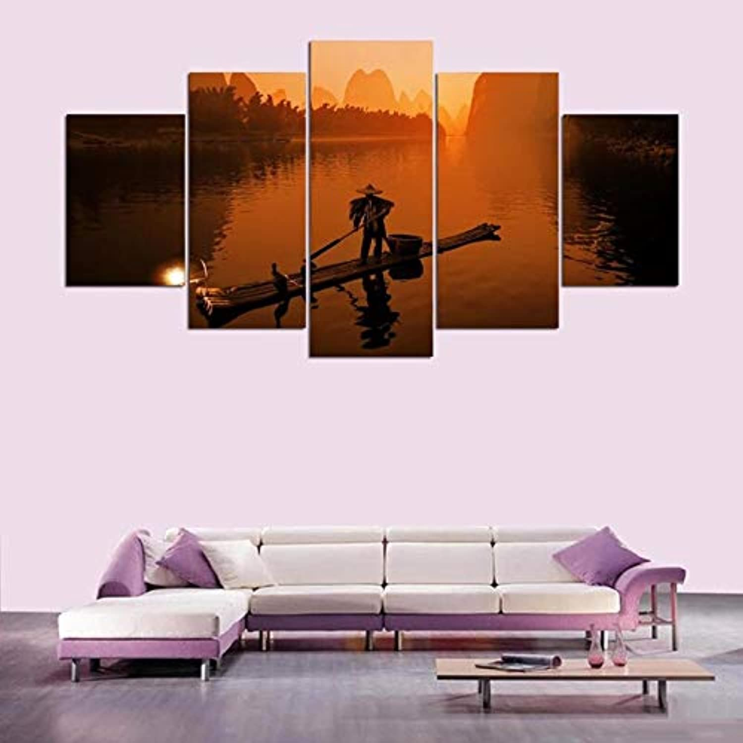 Canvas Painting Modular Wall Art Picture Framed 5 Pieces Sunset Sail in The River Poster for Living Room Home Decor