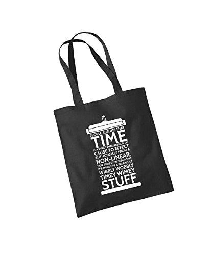 clothinx - Time Stuff - Baumwolltasche Schwarz, langer Henkel