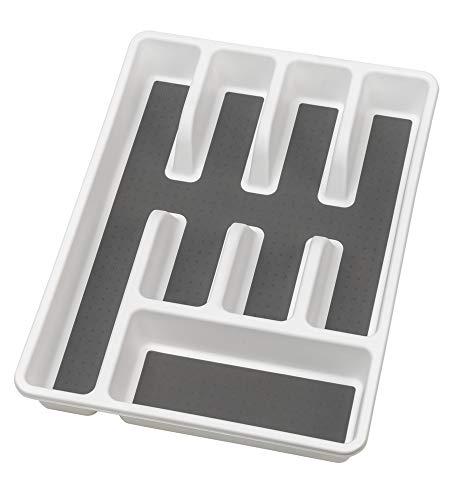 WENKO Besteckkasten Anti-Rutsch 5 Fächer - Besteckeinsatz für Schubladen, 26,5 x 5 x 36,5 cm, weiß
