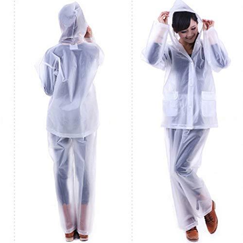 ZHANGQIANG-yuyi Verdicken Durchlässiger Wiederverwendbare Regenmantel for Erwachsene Umweltwasserdicht Multi Farben Regenmantel Anzug mit Kapuze (Color : White, Size : M(155-165cm))