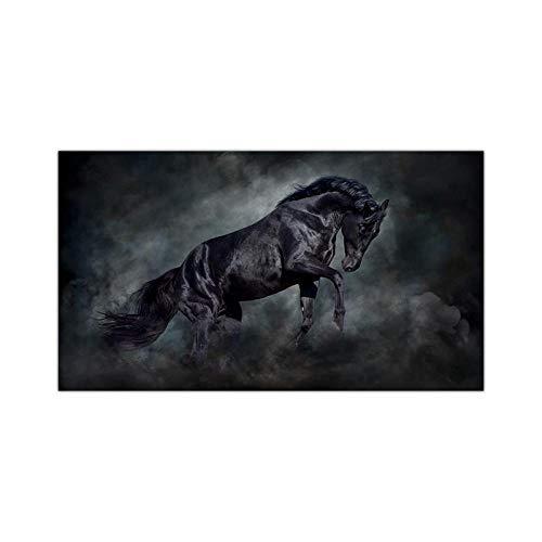 FUYUHAN Cartel nórdico, Mural Mural Moderno Animal Lienzo Pintura Saltando Caballo Fresco impresión en Negro Cartel Mural Imagen Sala de Estar decoración del hogar sin marco-40X70CM Frameless_A1375