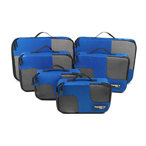 TraLight ® Packing Cubes   Packwürfel   Packtaschen   Kleidertaschen für Koffer, Reisetasche, Handgepäck, Rucksack, Sporttasche   6 teiliges Set (Blau)