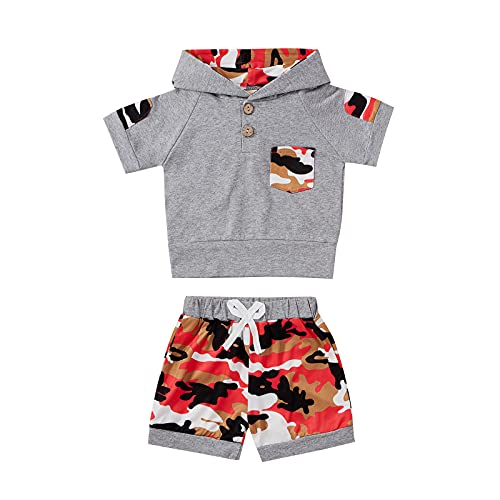 Conjunto de sudadera con capucha de camuflaje para bebé y bebé, de verano, con capucha, pantalones cortos, ropa