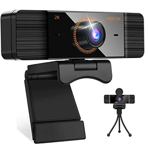 2K Webcam mit Mikrofon Full HD 1440P PC Web Kamera Einstellbare Klarheit für Studieren,Videoanrufe, Konferenz und Live Streaming Webcam Kompatibel mit Windows/Chrome/Mac OS mit Webcam Stativ PC Kamera