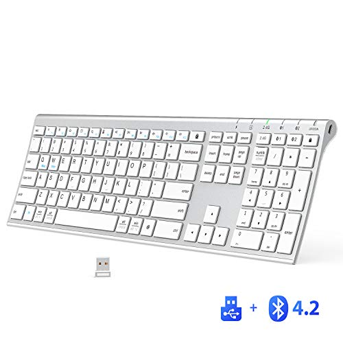 iClever DK03 Bluetooth Keyboard - 2.4G Wireless Keyboard Rechargeable Bluetooth 4.2 + USB Multi Device Keyboard, Ultra-Slim Full Size Dual Mode White Keyboard for Mac, iPad, iPhone, Windows, Android