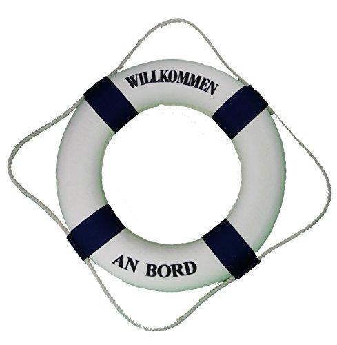 osters muschel-sammler-shop großer DEKO Rettungsring blau-Weiss Ø 50cm Willkommen an Bord - Maritime Fischernetzdekoration - Muscheln und Schnecken