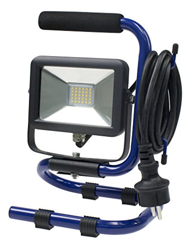 as - Schwabe 46410 mobiele chip-LED-spot 10 W, IP 65 bouwlamp voor buiten en bouwplaats, blauw, 230 V