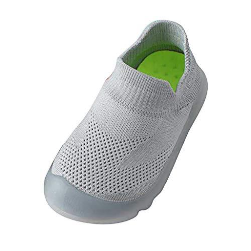AIni Baby Schuhe 2019 Neuer Beiläufiges Mode Mädchen Jungen Reine Farbe Nettes Kleinkind Kleinkind Kleine Gestrickte Atmungsaktive Schuhe Lauflernschuhe Krabbelschuhe Kleinkinder Schuhe (24/25,Grau)