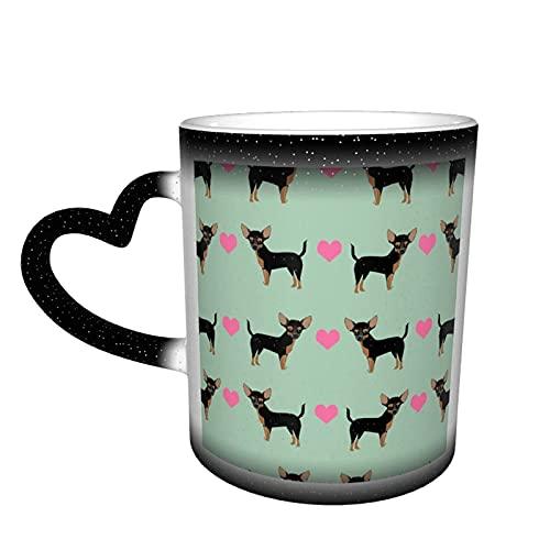 maichengxuan Taza de café unisex de viaje Love Chihuahua personalizada sensible al calor color cambiante taza de té de leche tazas de café mágicas