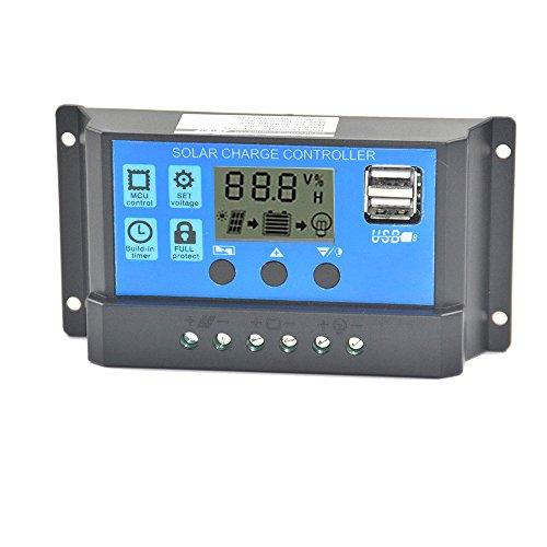 Javpoo Controlador de Carga del regulador del Panel Solar USB 20A 12V-24V con Doble USB