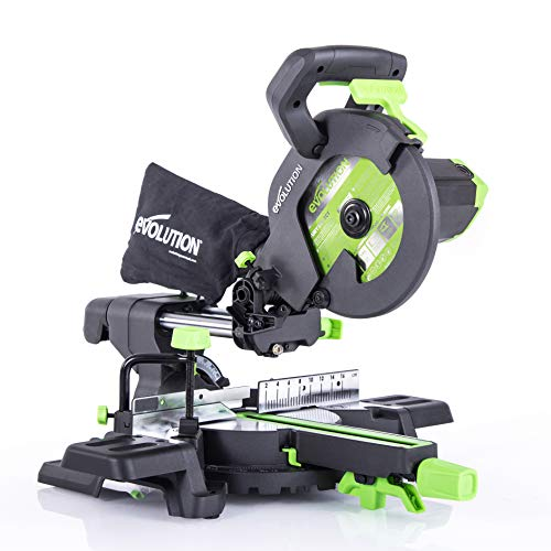 Evolution Power Tools F210SMS Sliding Mitre Saw with Multi-Material Cutting, 45 Degree Bevel, 50 Degree Mitre, 230 mm Slide, 1200 W, 230 V