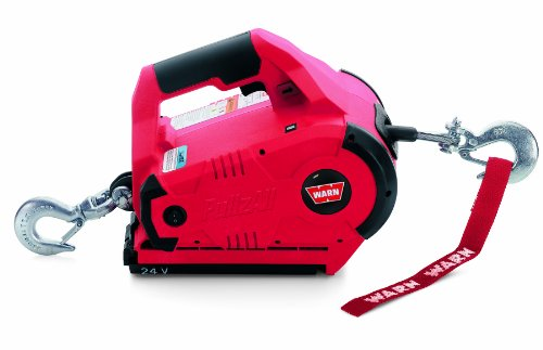 WARN 885030 PullzAll Cordless 24V DC Portable Electric Winch with Steel Cable and 1 Rechargeable Battery Pack: 1/2 Ton (1,000 lb) Lifting/Pulling Capacity, Red