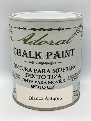 Adoral - Pintura Chalk Paint Pintura a la Tiza Decoración Muebles (125 ml Blanco Antiguo)