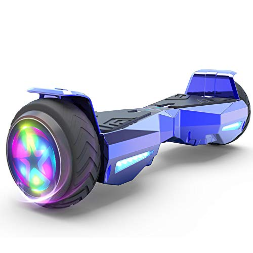 HOVERSTAR Hoverboard Certified HS2.0 Flash Wheel with LED Light Self Balancing Wheel Electric Scooter (Chrome Blue)