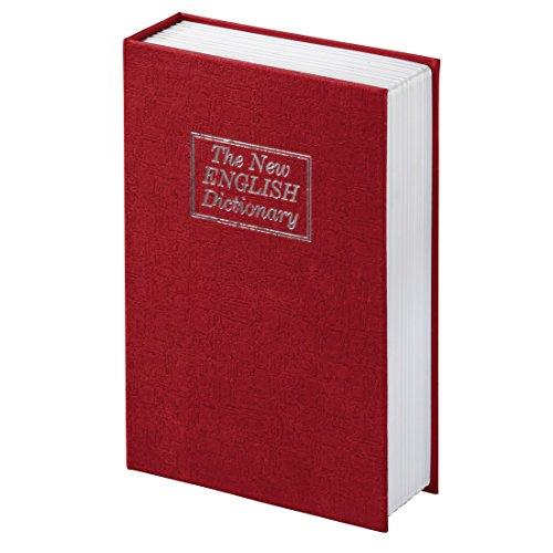 Caja fuerte con llave Hama. Caja fuerte en forma de libro con compartimento secreto. Con aspecto de The new English Dictionary. Caja fuerte. Color: Rojo