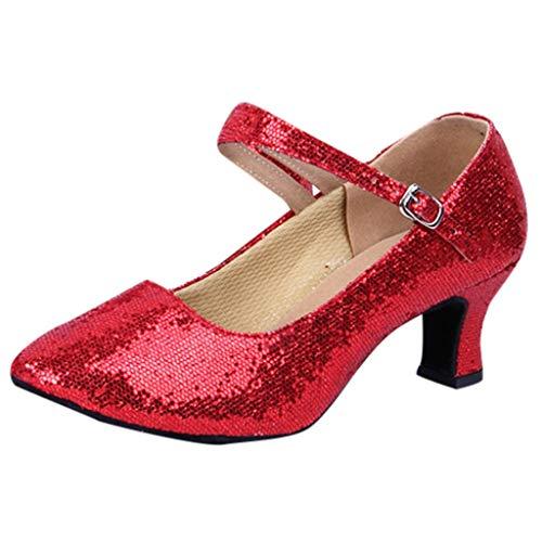 Damen Pumps Standard Latein Tanzschuhe Brautschuhe Elegante Schuhe Basic Absatzschuhe Frühling Mittelhohe Weicher Boden Atmungsaktiv Schlüpfen 3 Farben (Rot, EU37)