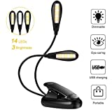 Lampe de Lecture Clipsable 14 LEDs 3 Couleurs 9 Modes Luminosité Réglable, Lampe...