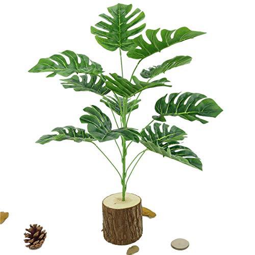 Greenlans Lot de 12 plantes artificielles de printemps avec feuilles de Monstera pour extérieur, maison, cuisine, jardin, décoration de table Vert